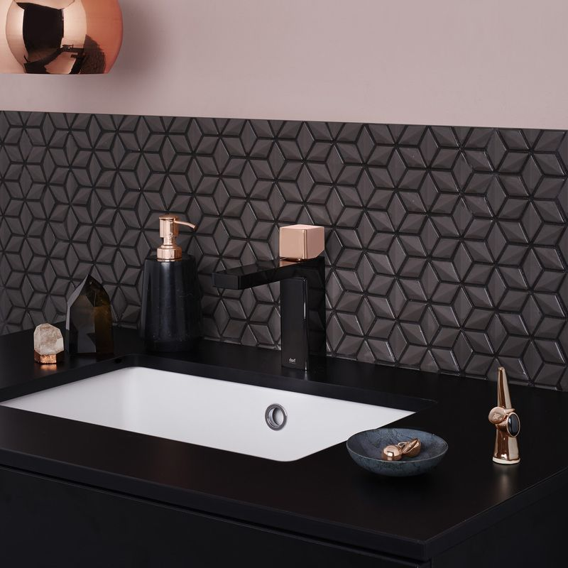 Dorf Epic Bloc Mixer Tap In Black And Rose Gold Gold Bathroom Black And Gold Bathroom Rose Gold Kitchen