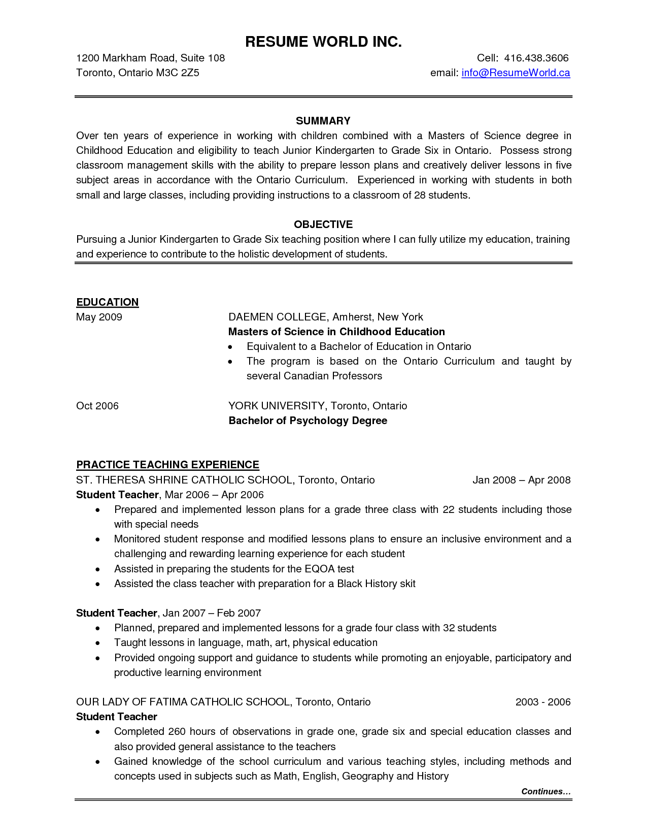 Canadian Resume Template Sample Best Resumes Dream Job Hunts