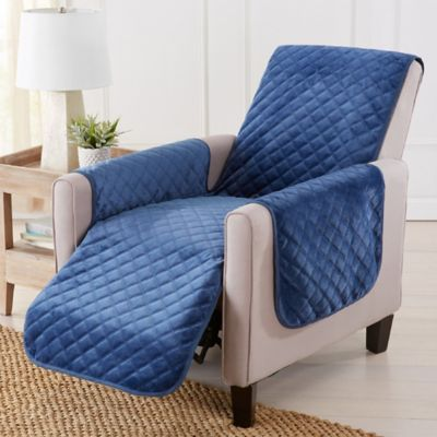 Sofa Saver Velvet Recliner Cover In Blue Denim Blue ...