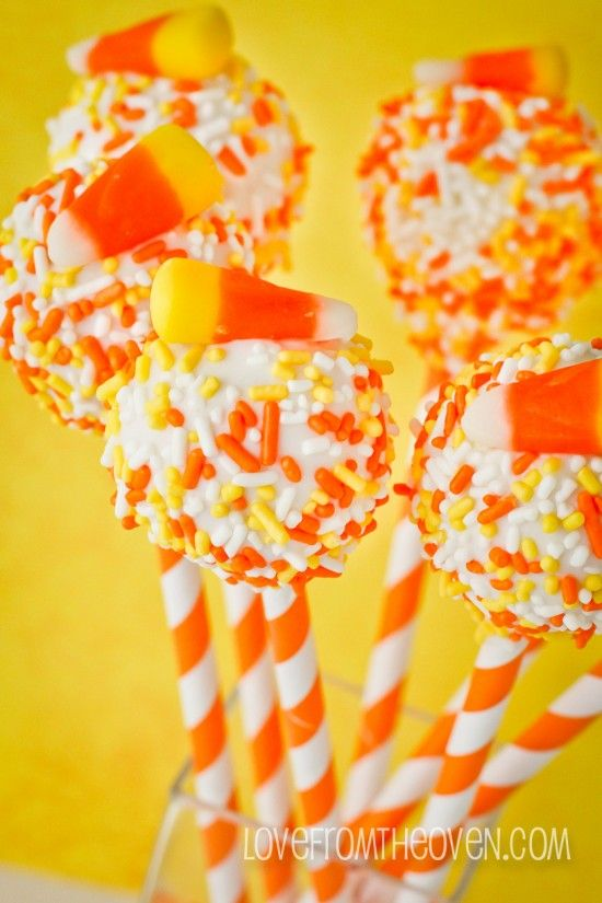 Candy Corn Cake Pops by Love From The Oven