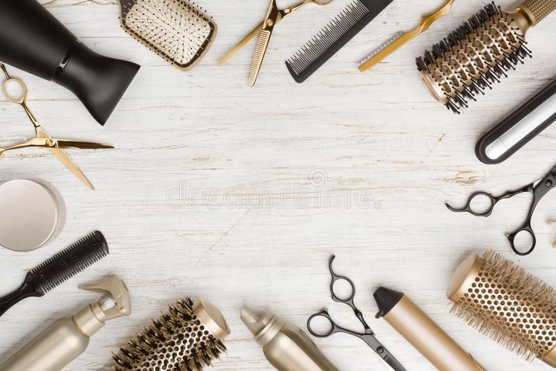 various hair dresser tools on wooden background with copy space. , #aff,  #tools, #dresser, #hair, #wooden, #space… | hair salon art, hair salon  quotes, hair dresser  pinterest