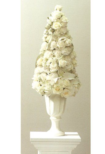 Wedding topiary centerpieces white rose tall