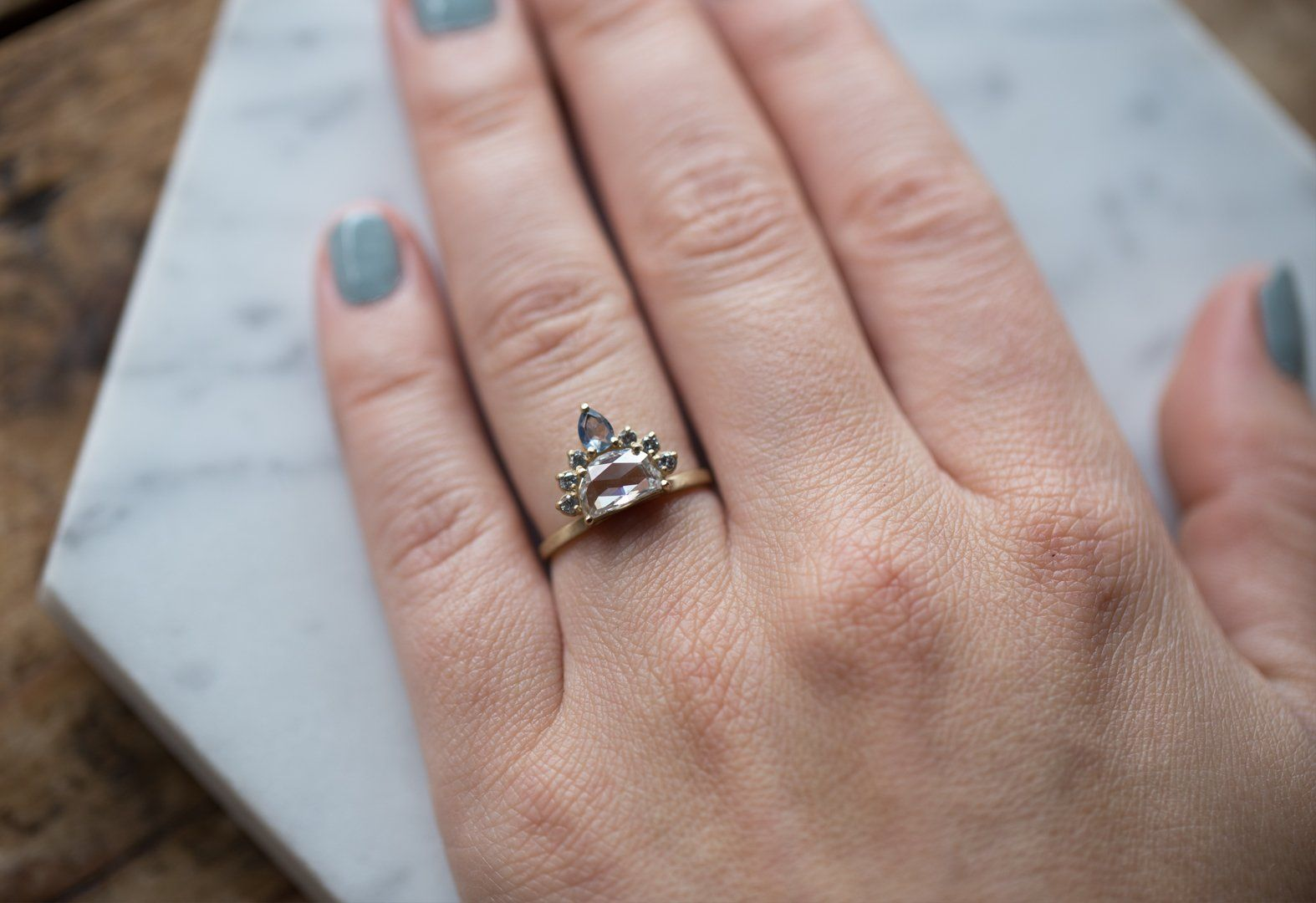 Sun, Moon + Stars Diamond + Sapphire Engagement Ring | Pinterest ...