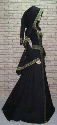 Black Medieval Dress With Gold Trim And Hood Fantasy Dress Medieval Dress Fashion