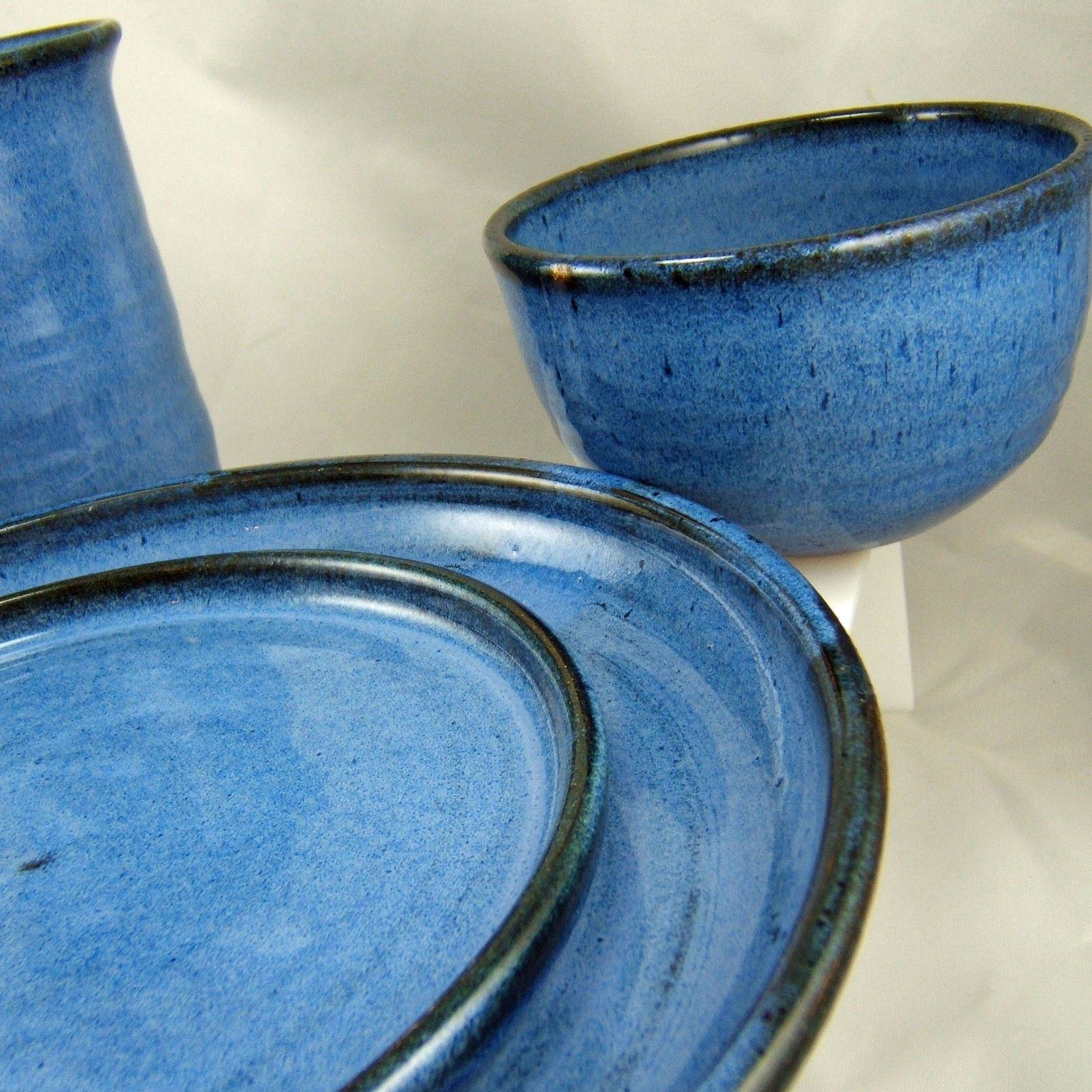 Plate Dinner One Bright Blue Ceramic Stoneware Pottery Dinnerware Clay  Pottery Plate Settings Ceramic Plates Stoneware Plates Play Plates