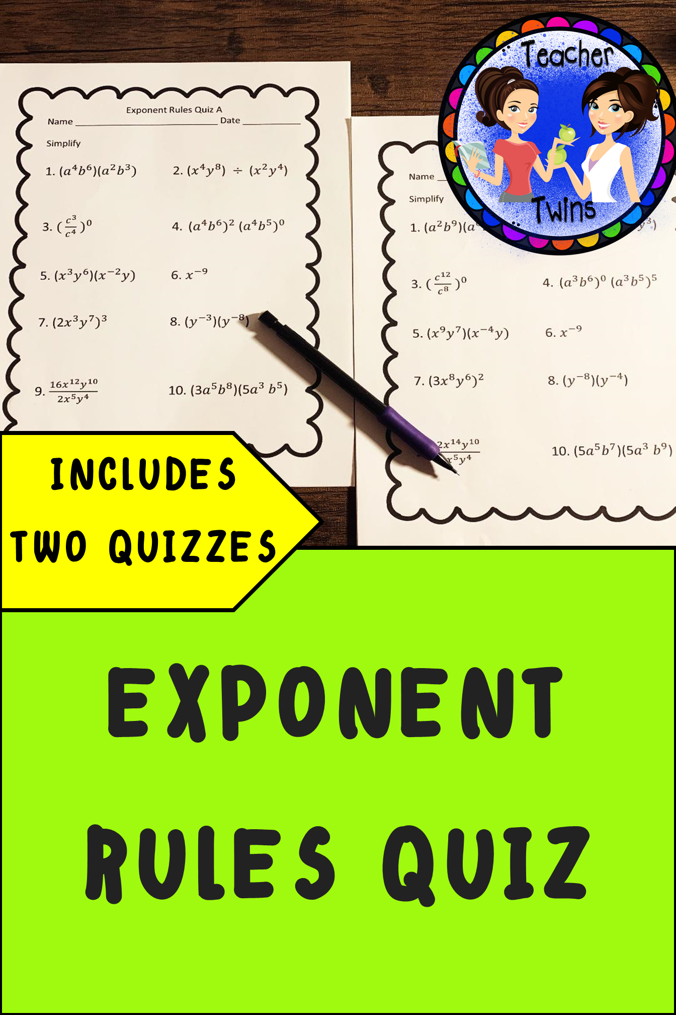 Two Different 10 Question Quizzes On Exponent Rules Rules