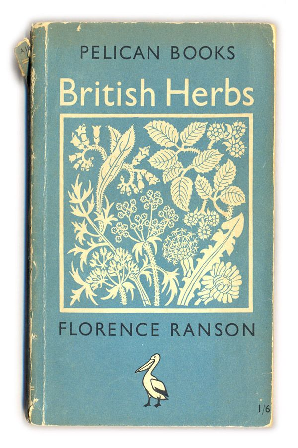 1949 British Herbs book cover - Florence Ranson #book #vintage #blue #herbs #book_cover #botany