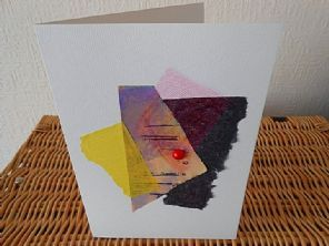 Tribal Red Dot - Handmade Greeting Card - Mixed Materials - Original Fine Art…