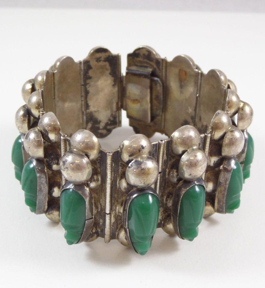 Vintage Sterling Silver Rare Large Heavy Jade Bracelet