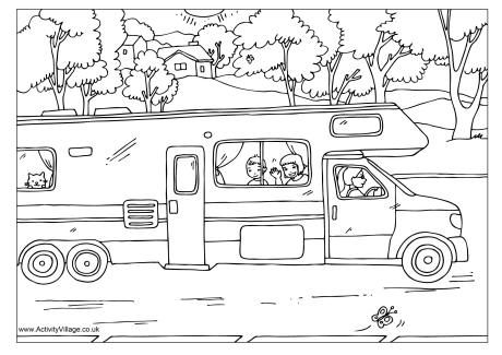 Campervan Colouring Page Trailer Craft Summer Coloring