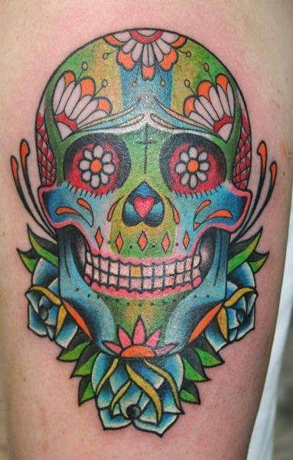 Happy Day Of The Dead Sugar Skull Tattoos Skull Tattoo Design Skull Girl Tattoo