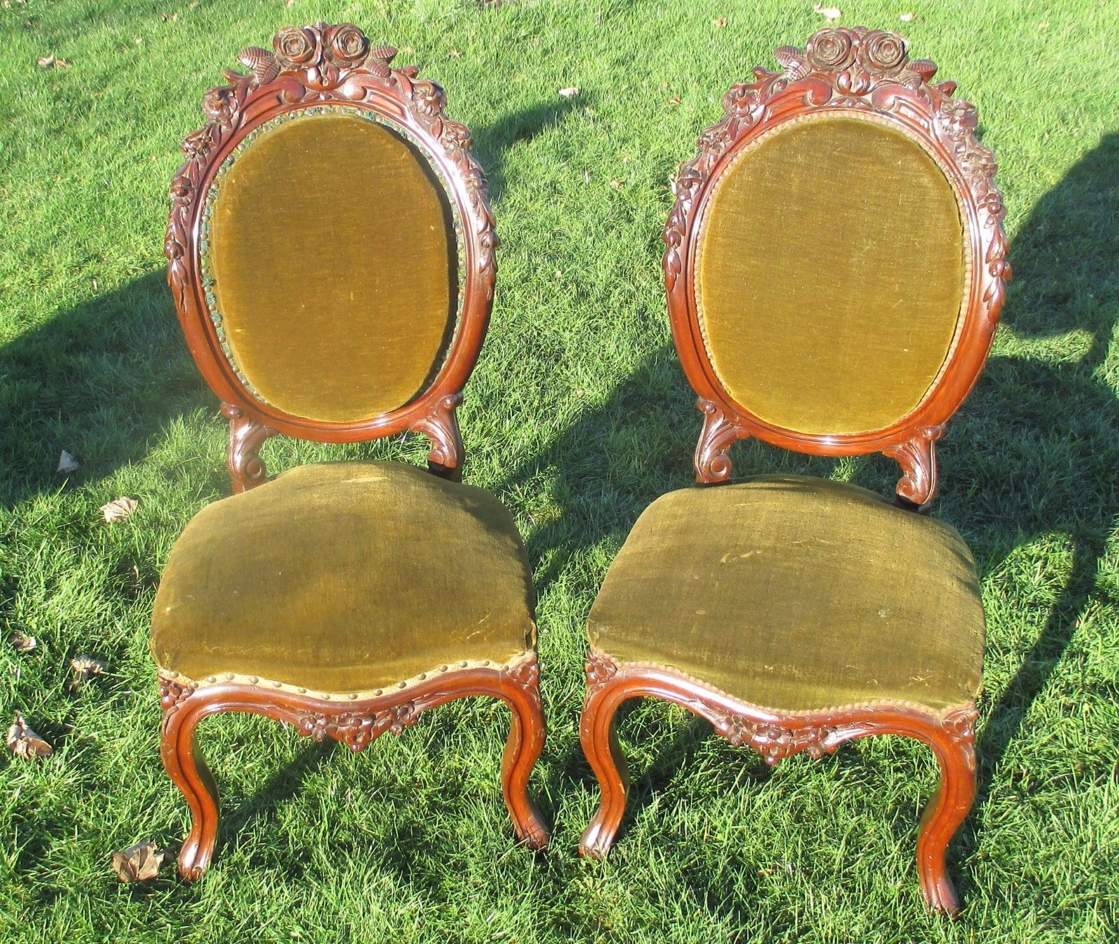 2 Antique Hand Carved Wood Parlour Chairs Hobnails Louis XV Style 19th Century | eBay