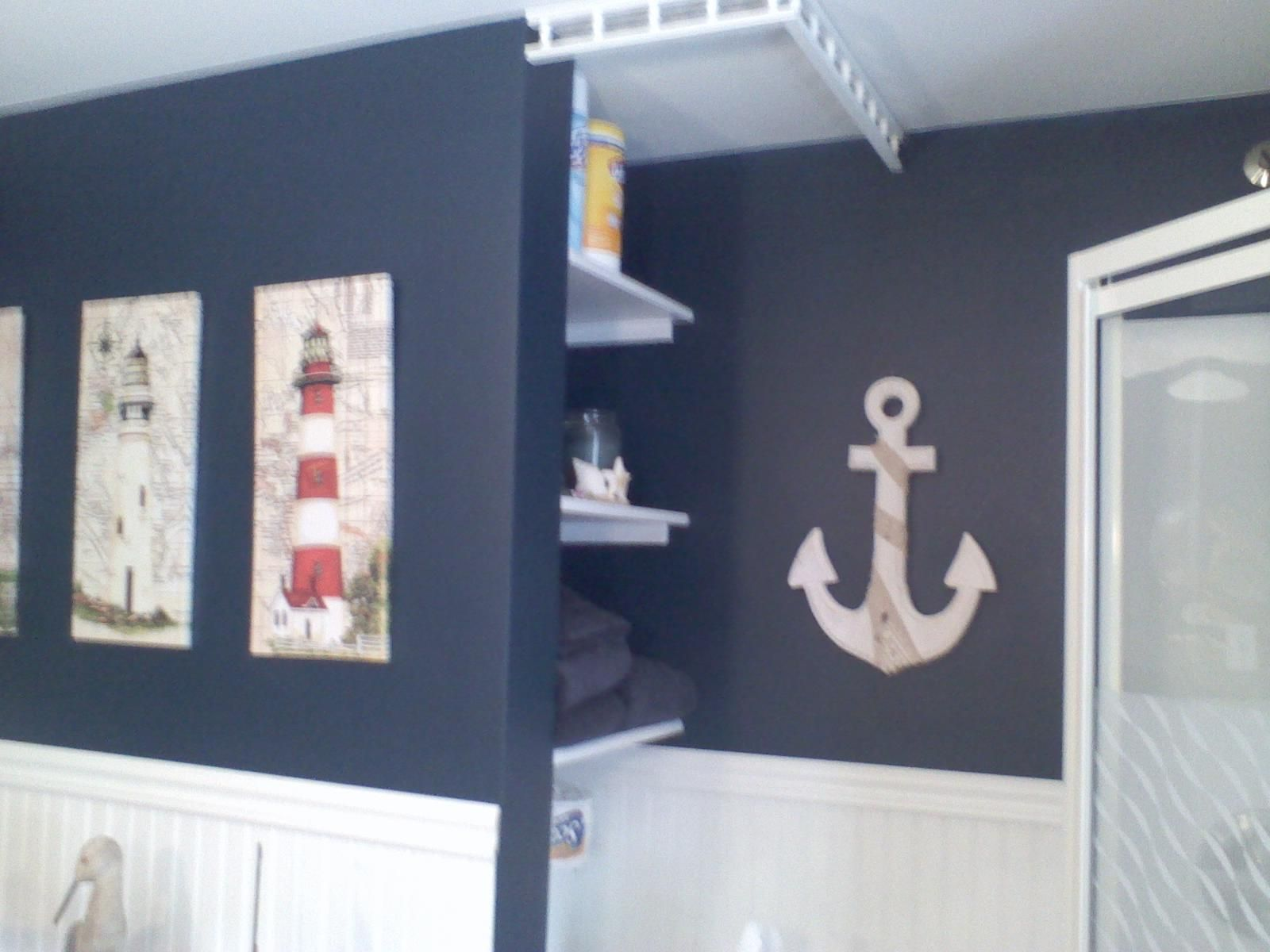 Nautical themed bathroom -  Brooke Baird Stacey Check Out The Anchor On The Wall
