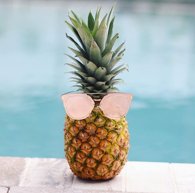 cute pineapple with sunglasses. pink sunglasses for women! what a cute shades summer pool party! # pineapple with n
