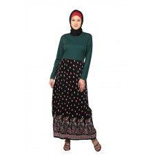 Wrinkled Skirt Green Abaya