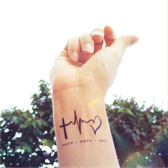 Faith Love Hope Heartbeat Tattoo Inknart Temporary By Inknart Love Wrist Tattoos For Women Small Wrist Tattoos Tattoo Designs For Girls