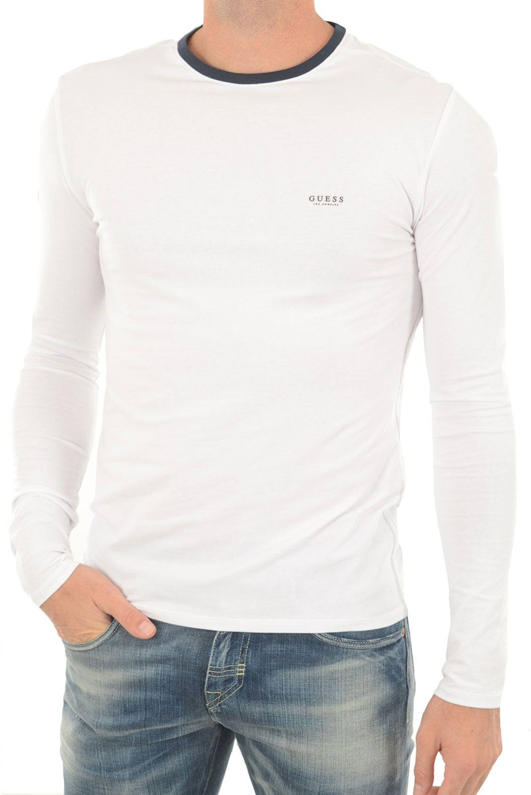 Guess t-shirt m74i72 blanc manches longues