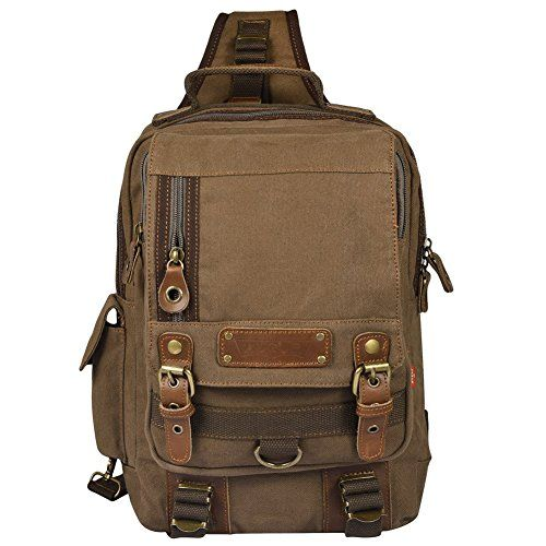 Vbiger Mens Canvas Backpack Sling bag Chest Pack for Travelling Coffee    Click image to review 988eede592d97