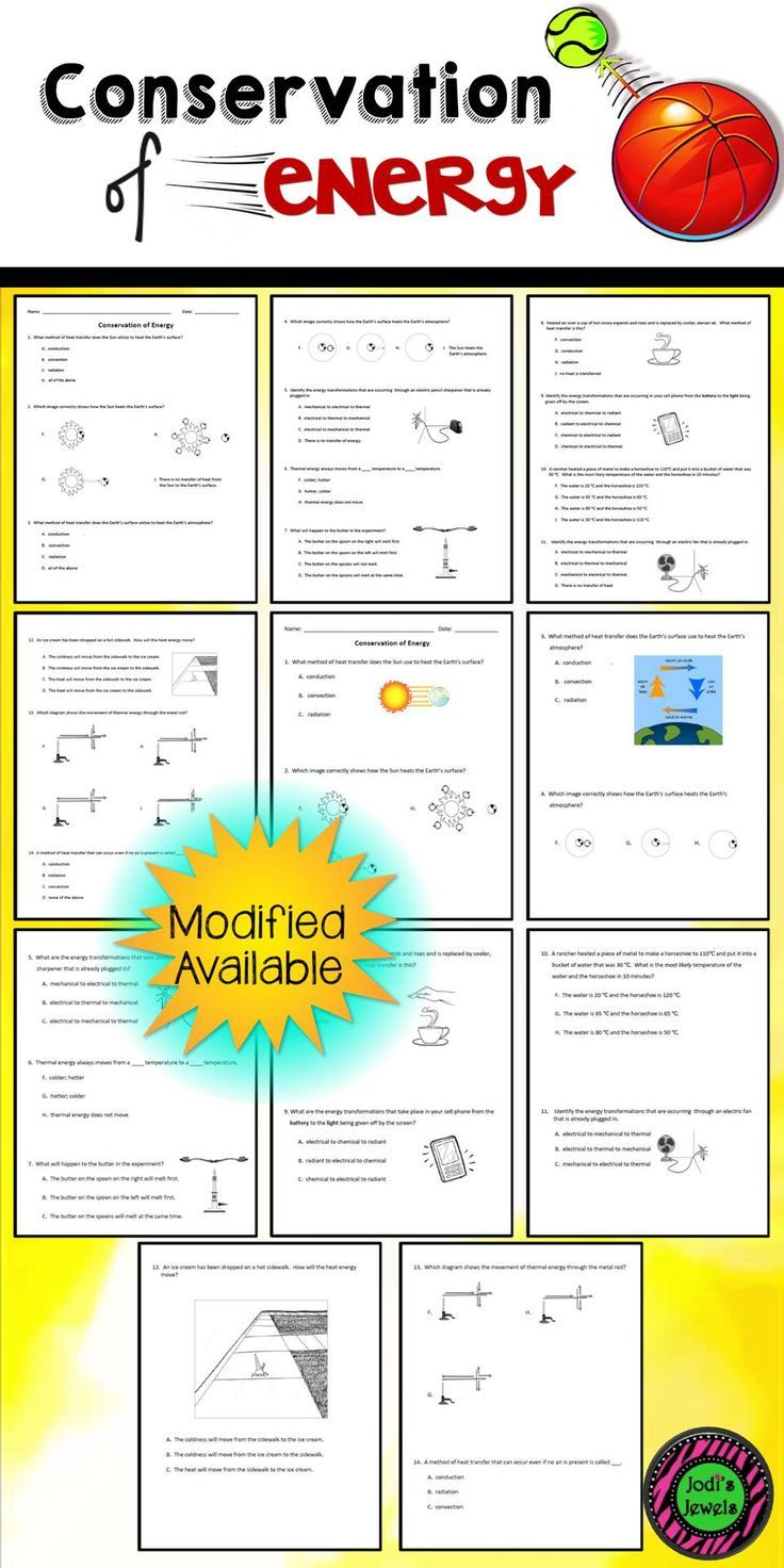 Worksheets Energy Transformation Worksheet created for an introduction to the conservation of energy including conduction convection and