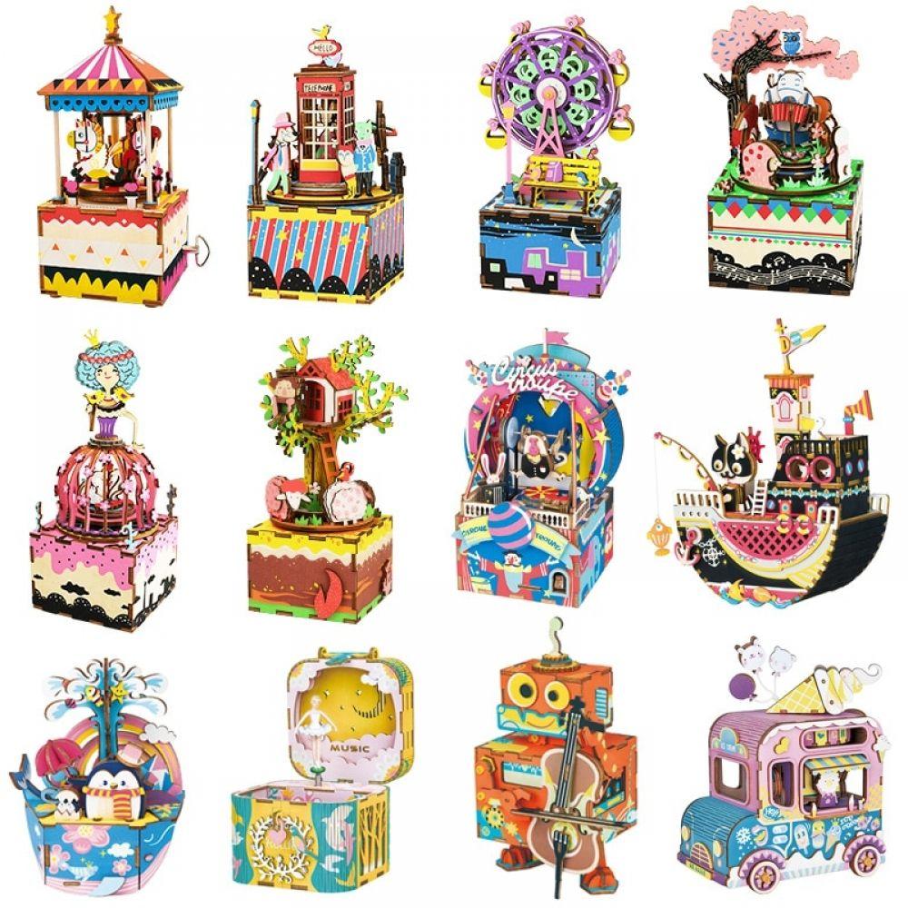 Diy 3d wooden music box puzzle musical toys assemble