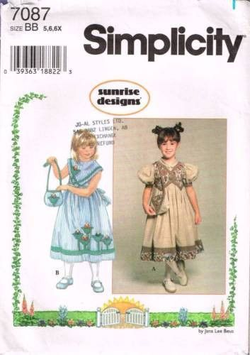 "7087 Sewing Pattern Girls ""Sunrise Designs"" Dress 5 6 6X"