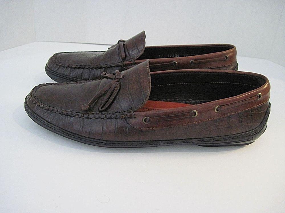 fbf5dea9118 Peter Millar Brown Leather Croc Print Tassel Driving Moc Loafer size 9 1 2M