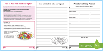 Year 5 Procedure Writing: How to Make Fruit Salad and ...
