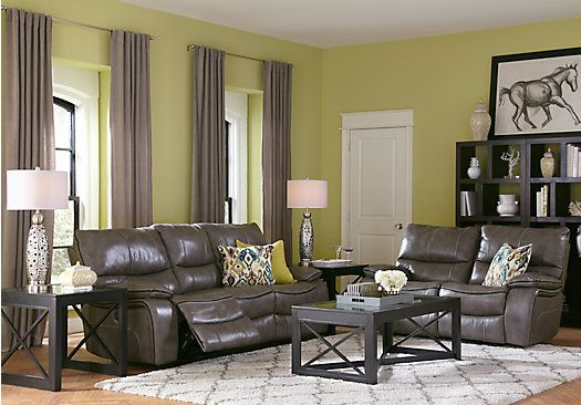 Cindy Crawford Home Gianna Gray Leather 2 Pc Living Room Find Affordable Rooms For Your That Will Complement The Rest Of Furniture