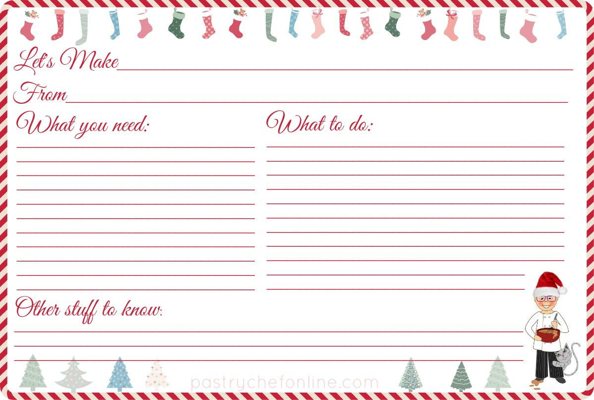 I made these free printable Christmas recipe cards for you. You