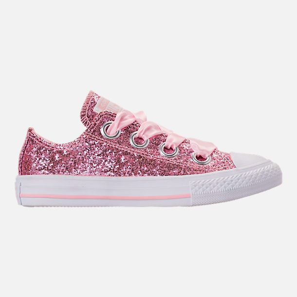 e63af66ac44 Right view of Girls  Little Kids  Converse Chuck Taylor All Star Sparkle Big  Eyelets Satin Casual Shoes in Storm Pink White White