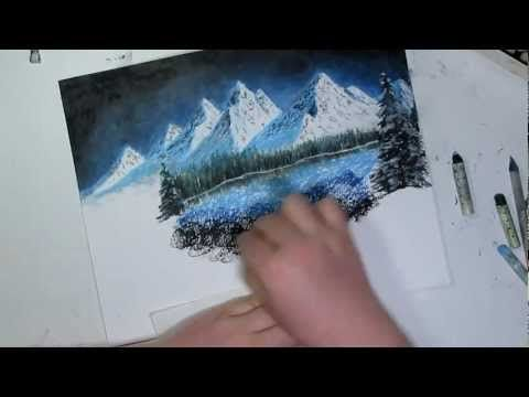 Holiday Edition Night Mountain Landscape Speed Drawing Oil Pastel Oil Pastel Drawings Chalk Pastels