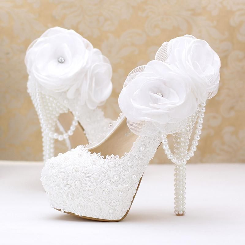 Lace Pearl White Flowers Bridal Shoes Thin High Heel Platform