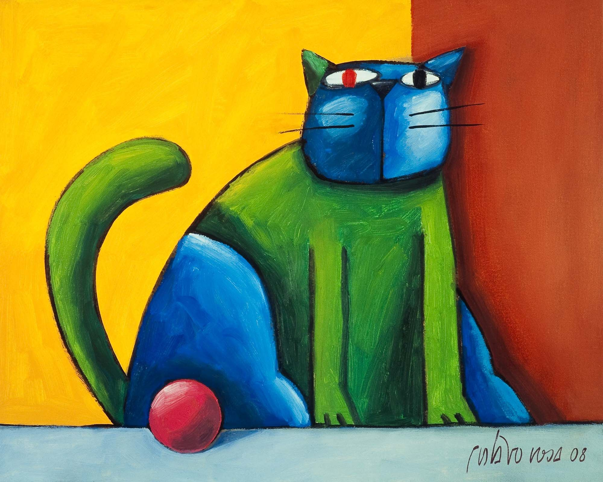 Gato Verde E Azul Com Bola Rosa Blog De Arte Producao De Arte