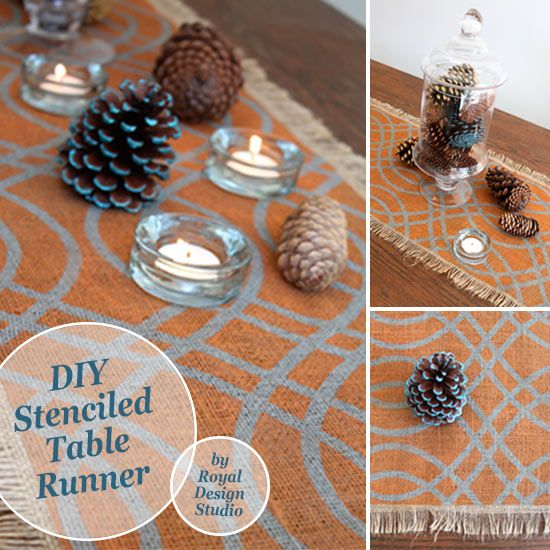 Stencil A Fall Table Runner Project With Chalk Paint And The Teardrop Trellis Wall