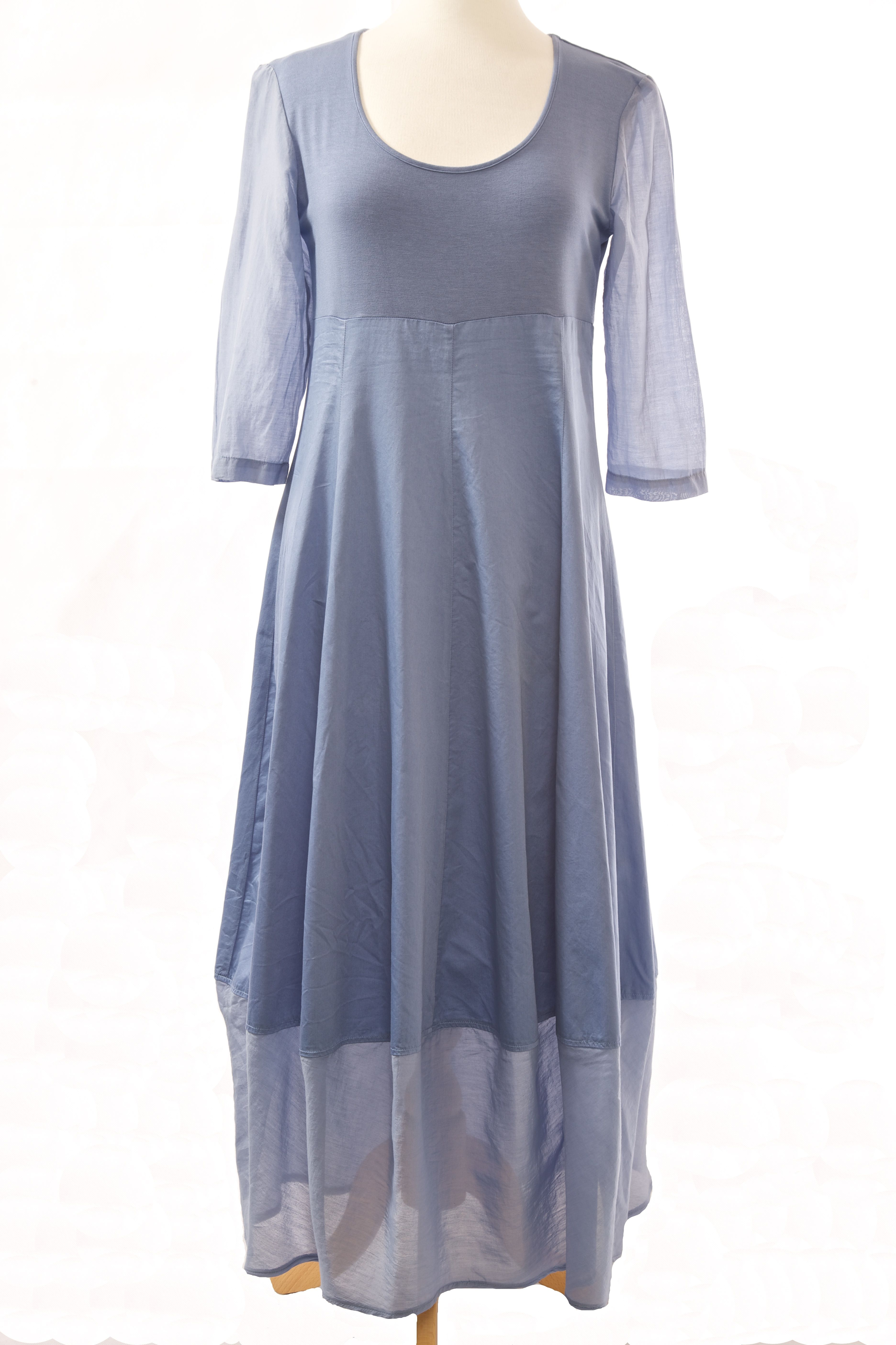 Cornflower blue maxi voile hem dress. Great sleeves in voile - two lengths, midi or maxi #outofxile #boutiquedresses #fashionboutique