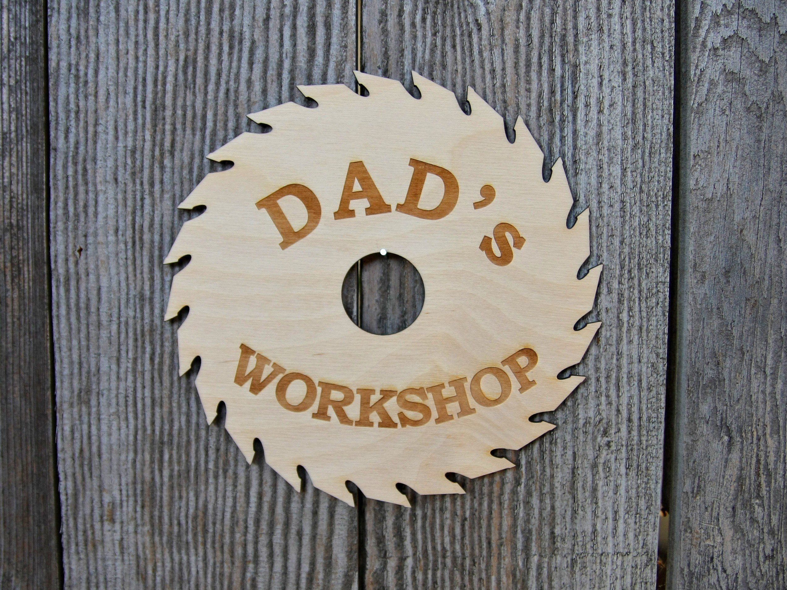 Dads workshop saw sign personalized wood garage sign custom papas