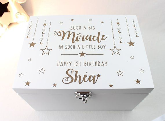 1st Birthday Gift Idea Boys First Such A Big Miracle In Little Boy Memory Box Keepsake Wooden