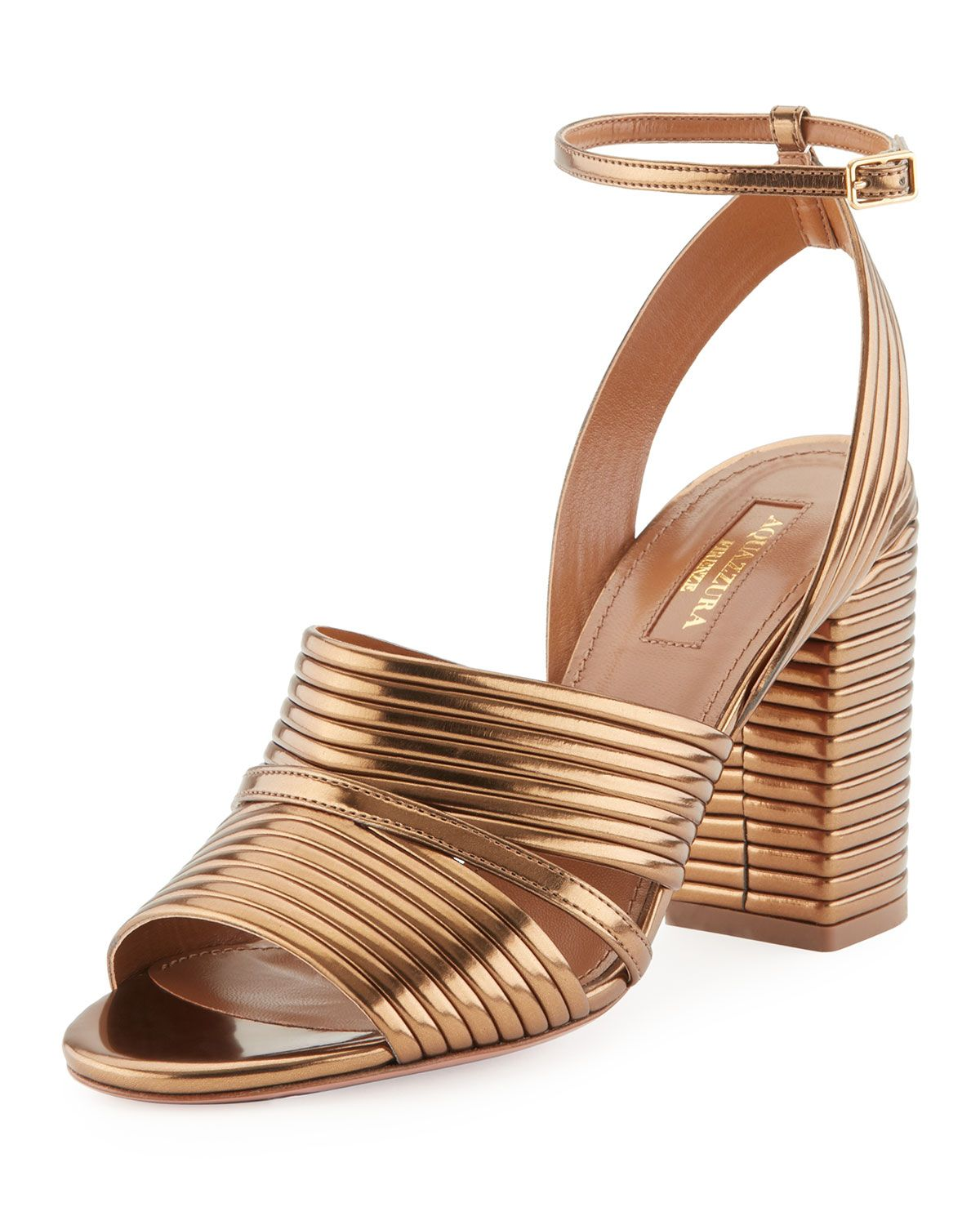 29b180c222c Aquazzura Sundance Metallic Leather Block-Heel Sandals