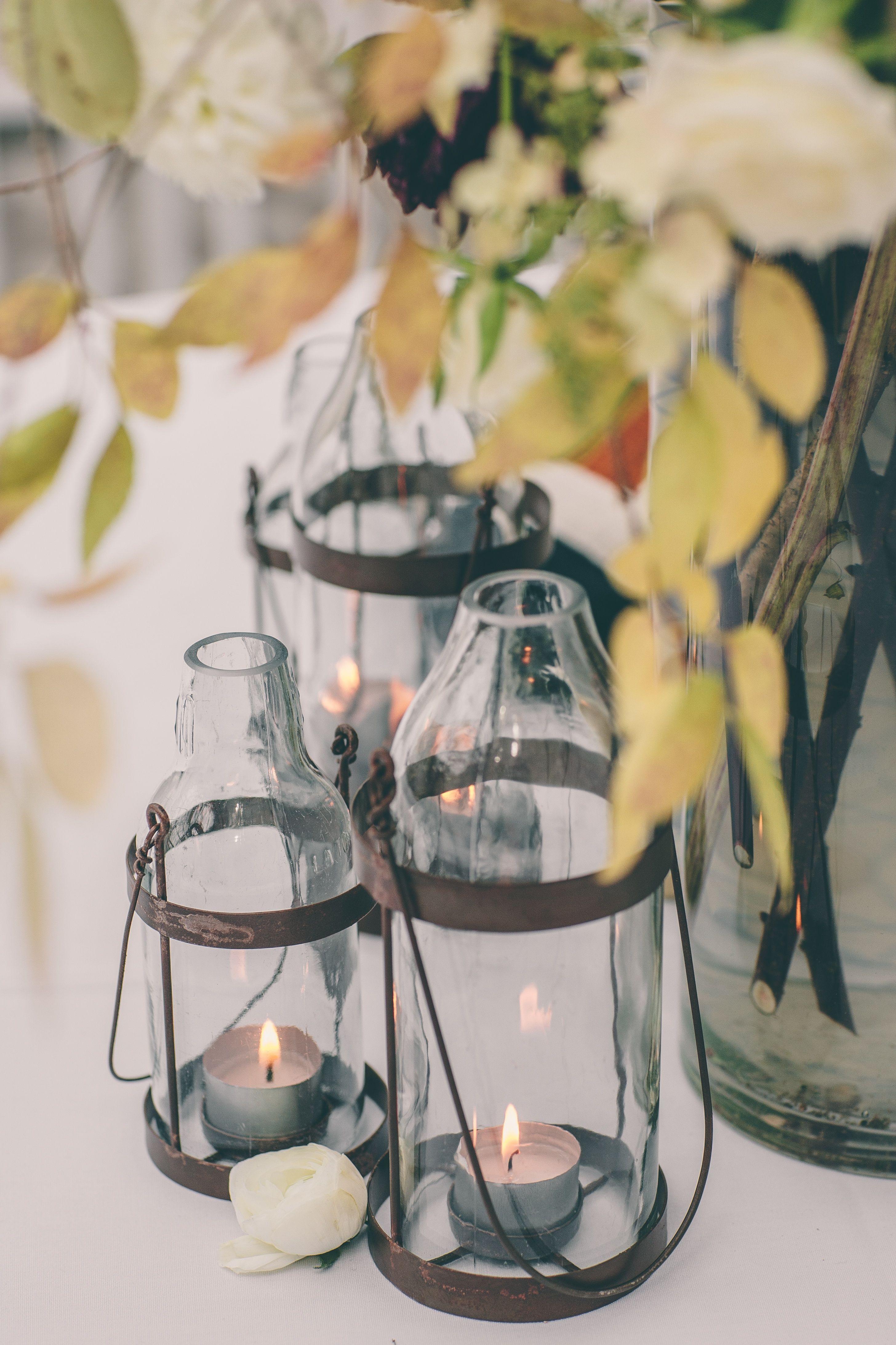 rustic bottle lanterns via the knot Brooklyn