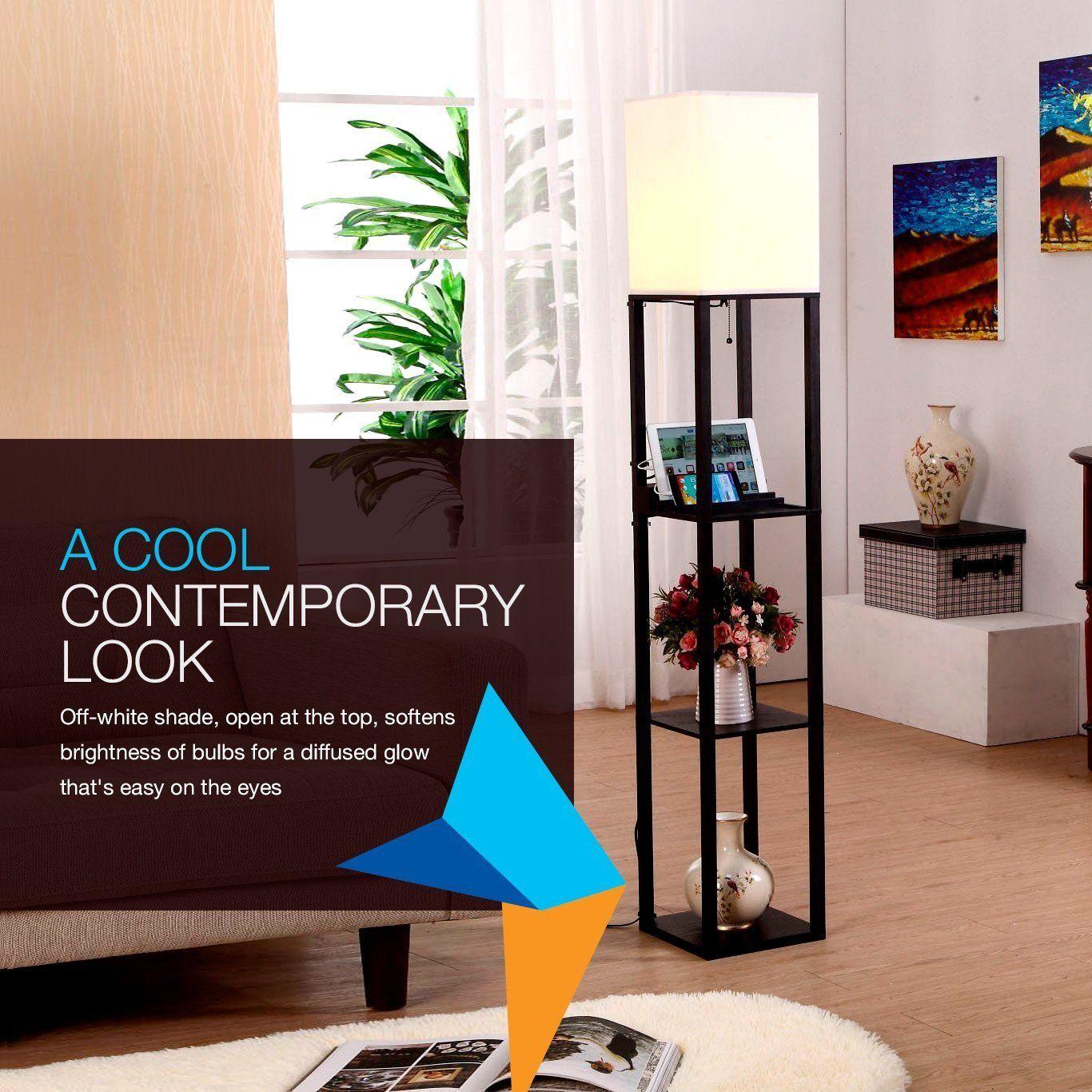Home Improvement Bathroom Hardware Led Shelf Floor Lamp Modern Standing Light Display Shelves For Living Rooms Bedrooms