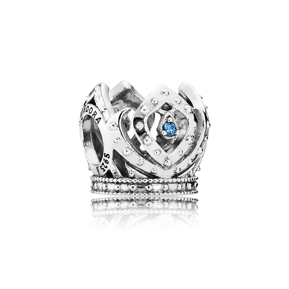 PANDORA Disney Elsa crown openwork silver charm with