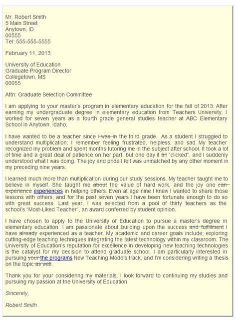 Graduate School Admissions Letter of Intent essay Pinterest