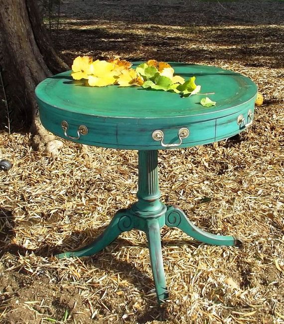 Vintage French Provincial Distressed Side Table Claw Foot Round
