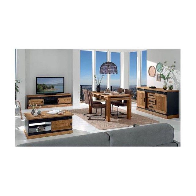 ea8cd4472bfbb1 Meuble tv en pin massif brossé et laqué noir, 2 portes coulissantes, 2  niches