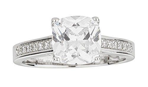 Sterling Silver Rhodium 8mm Cushion Cut Cubic Zirconia Engagement Ring