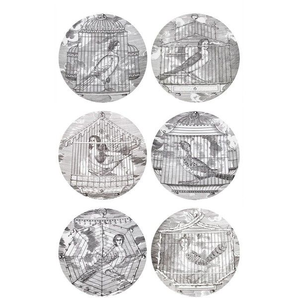 Fornasetti Aprie Gentili Plate Set (£530) via Polyvore featuring home, kitchen & dining, dinnerware, filler, grey, black and white dinnerware, black white dinnerware, gray dinnerware, fornasetti and grey dinnerware