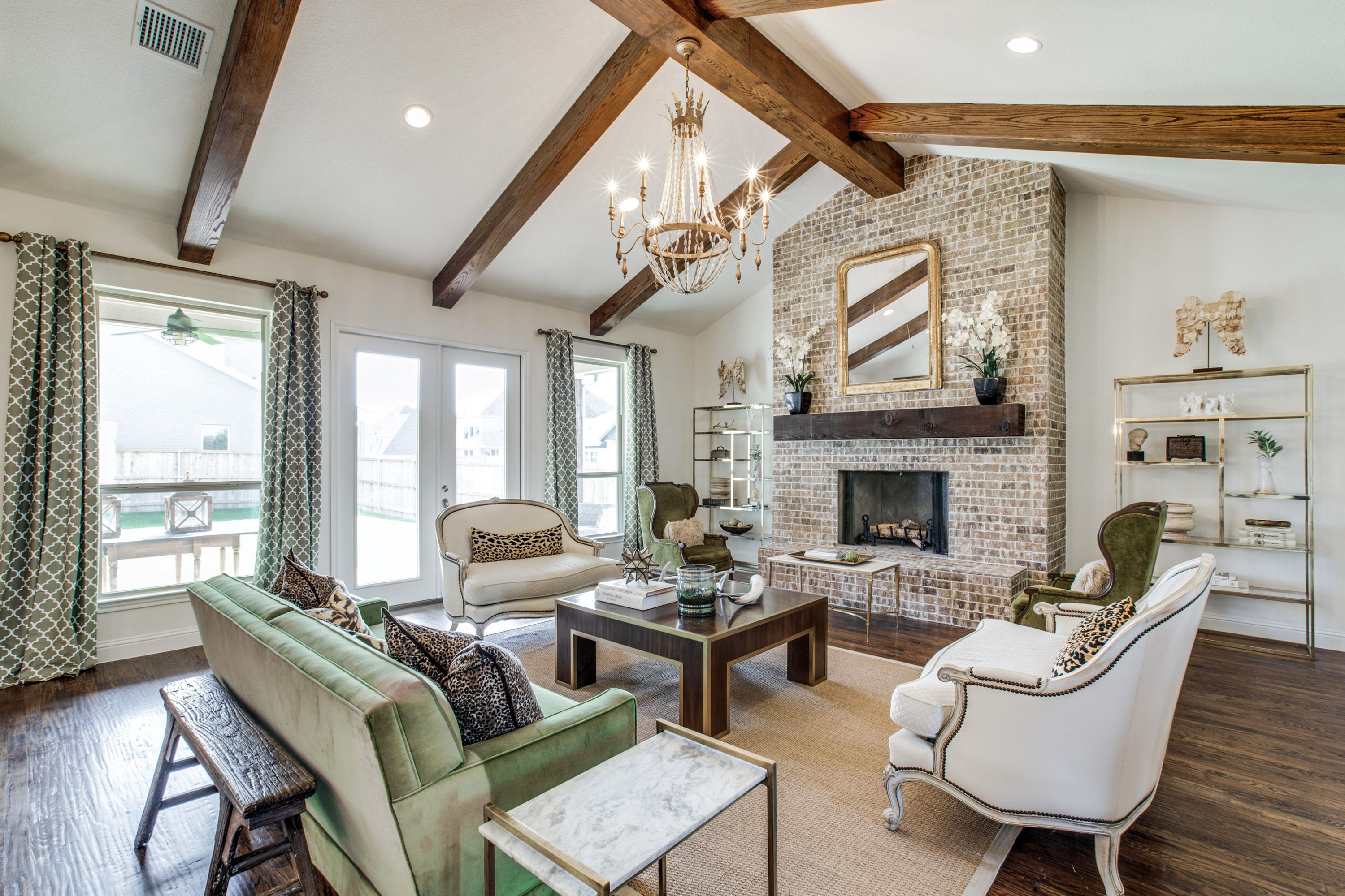 Vaulted Ceiling Exposed Brick Floor To Ceiling Fireplace Bannister Custom Home Vaulted Ceiling Living Room Vaulted Living Rooms Cathedral Ceiling Living Room