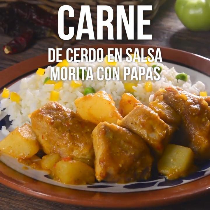 Carne De Cerdo En Salsa Morita Con Papas Video Receta Video Comida Kiwilimon Recetas Comida Recetas De Comida