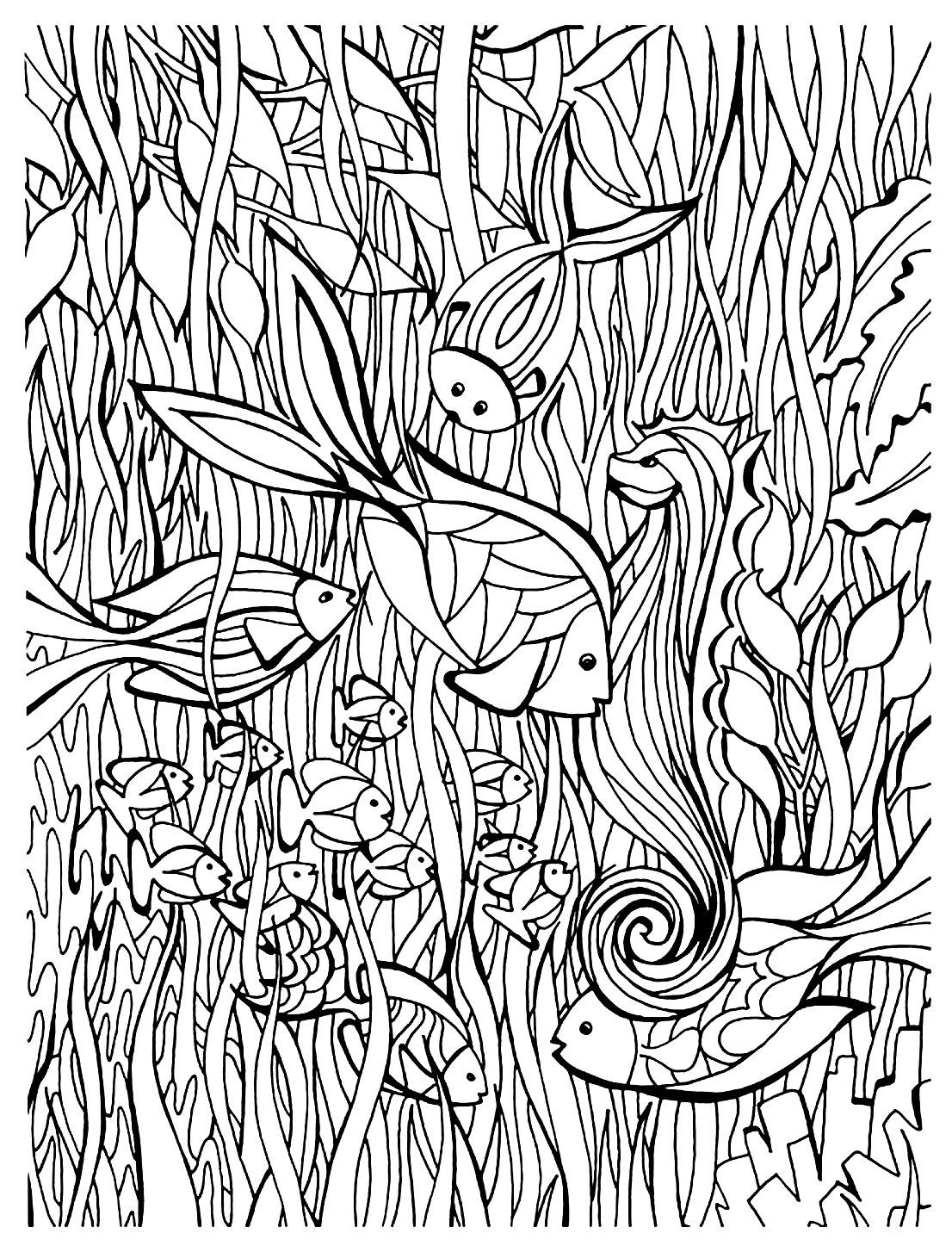 Free coloring page coloring-adult-fish-details. Fishes in the see ...