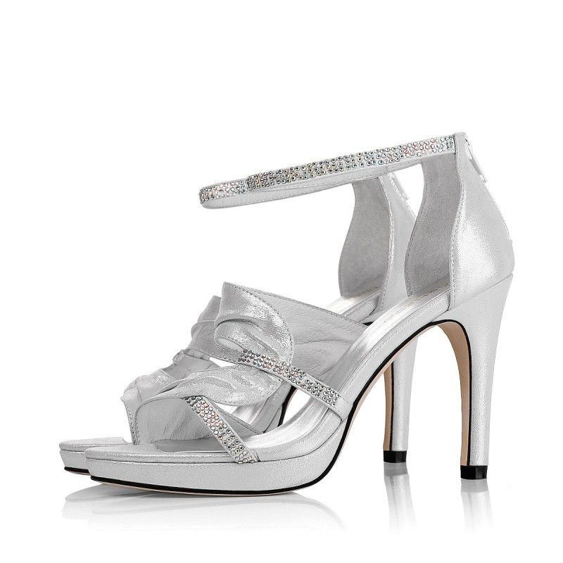 Silver Leather Strappy Wedding Shoe